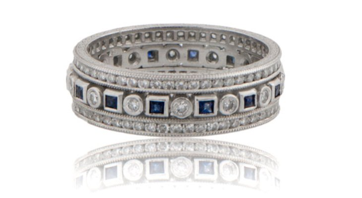 Antique diamond and sapphire wedding bands