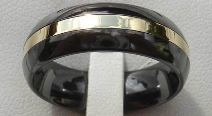 Black and gold titanium wedding bands