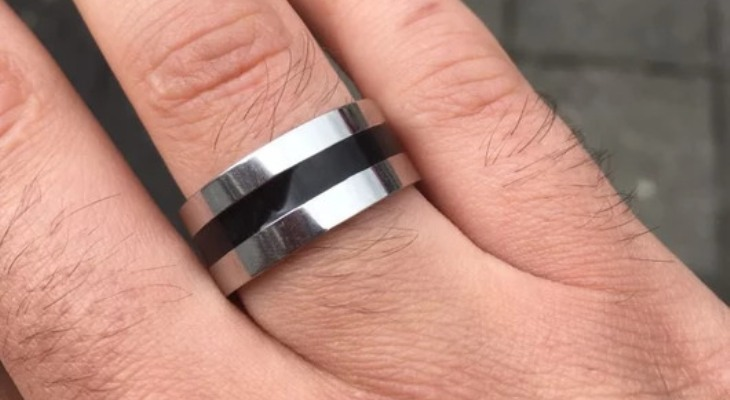 Black and silver titanium wedding bands
