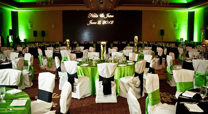 Black pale green and white wedding theme