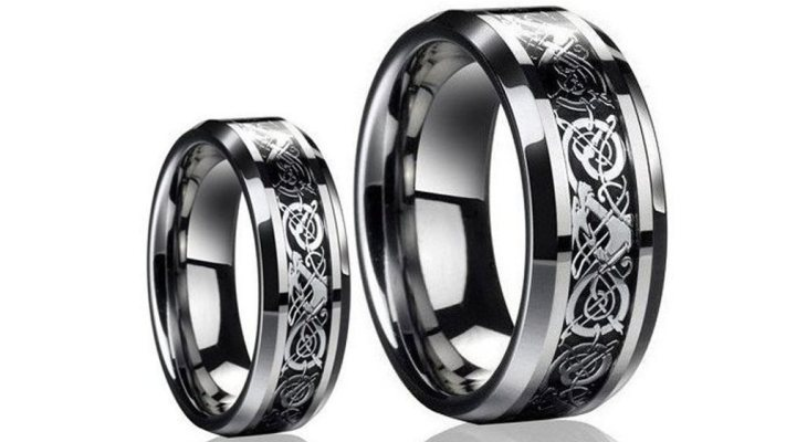 Black titanium wedding band sets