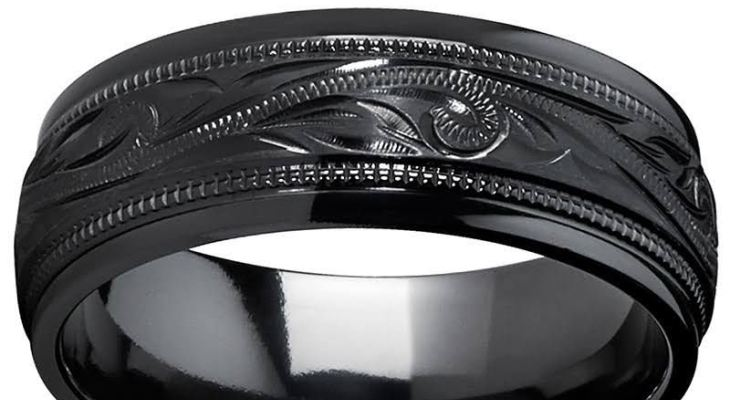 Black titanium wedding bands engraved