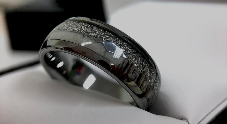 Black titanium wedding bands for him and her
