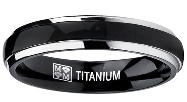 Black titanium wedding bands for him