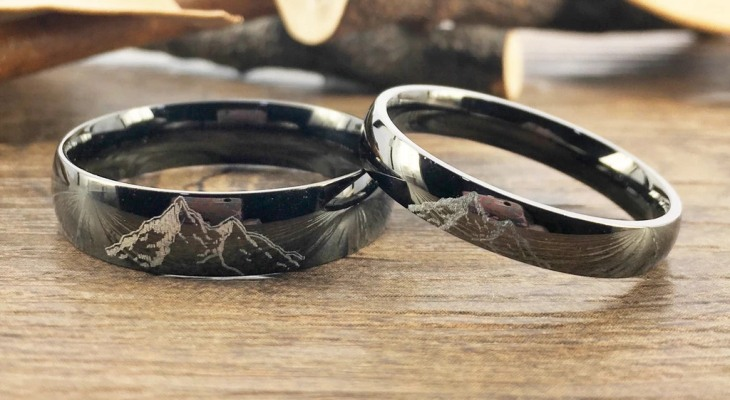Black titanium wedding ring sets
