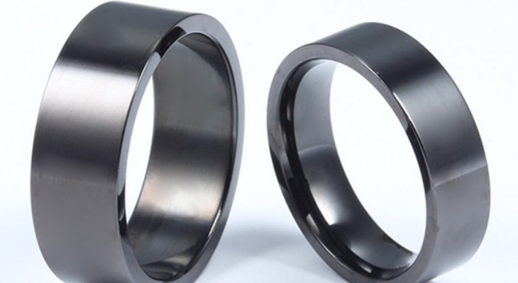 Black titanium wedding rings for couples