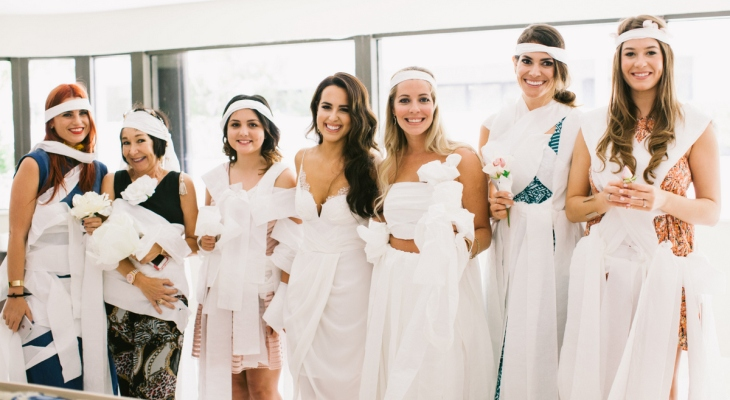 Bridal shower game dress with toilet paper