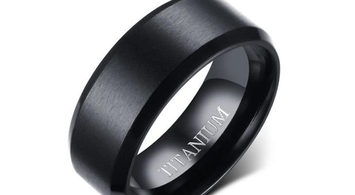 Brushed black titanium wedding bands