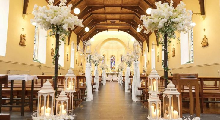 Church wedding aisle decoration