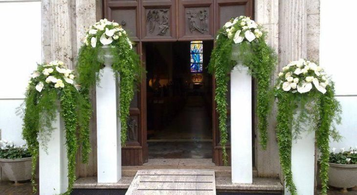 Church wedding entrance decor