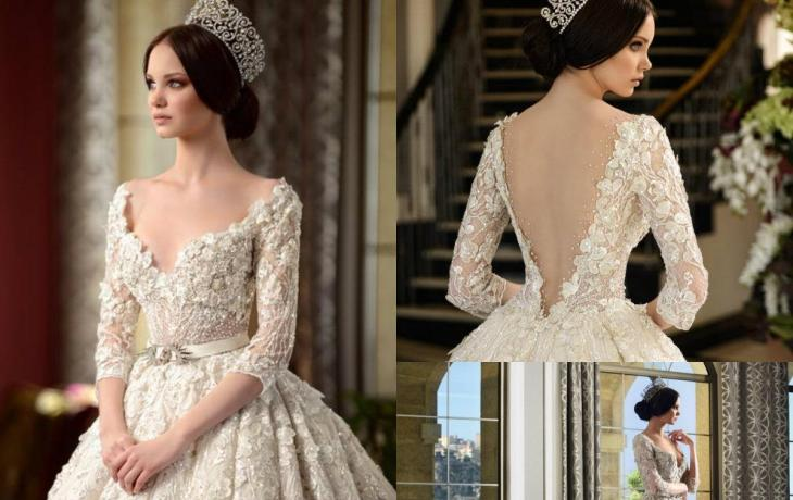 Crystal bows wedding dresses