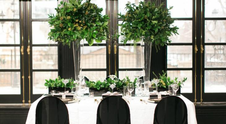 Dark green and white wedding theme