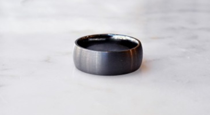 Flat black titanium wedding bands