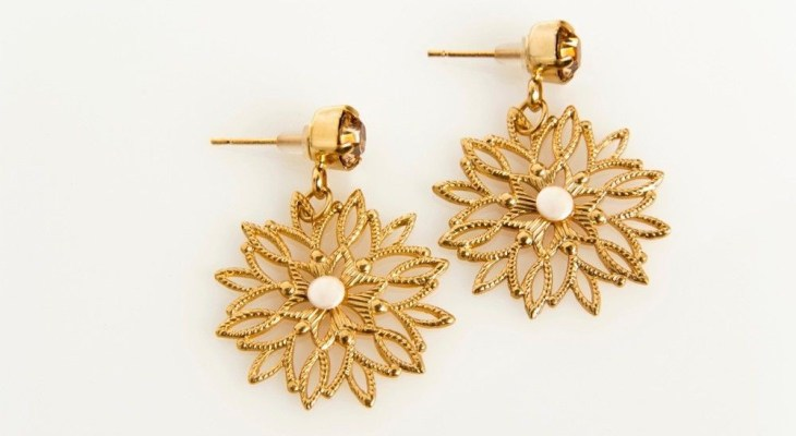 Gold earrings for wedding party