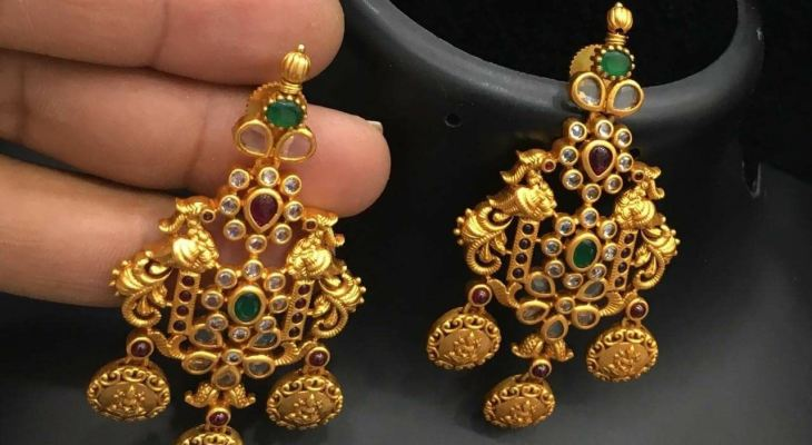 Gold earrings for wedding with price