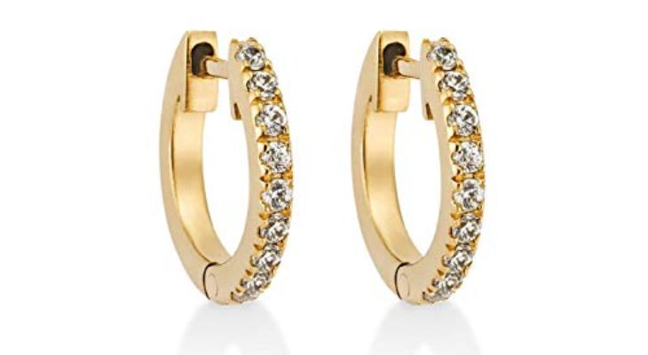 Gold hoop earrings with diamonds