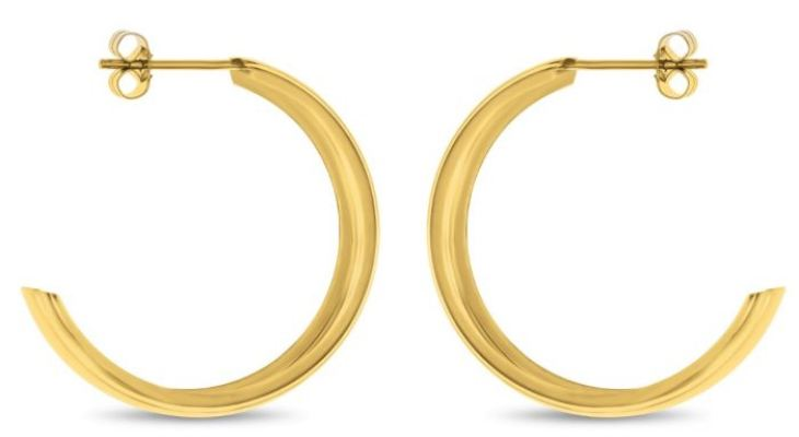 Gold Wedding Band Hoop Earrings