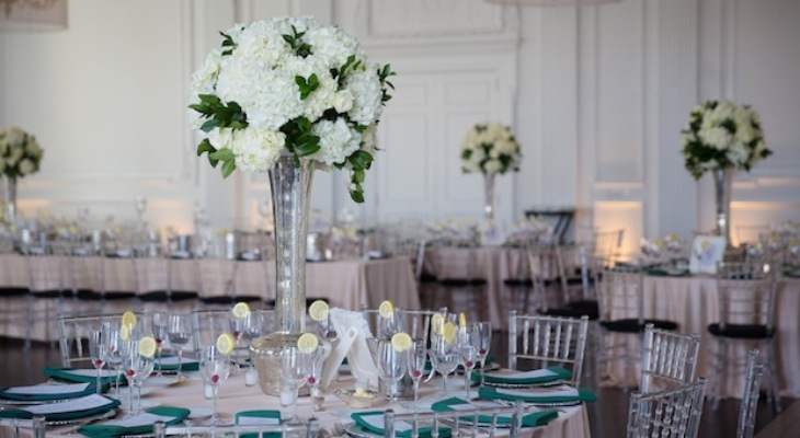 Green white and silver wedding theme