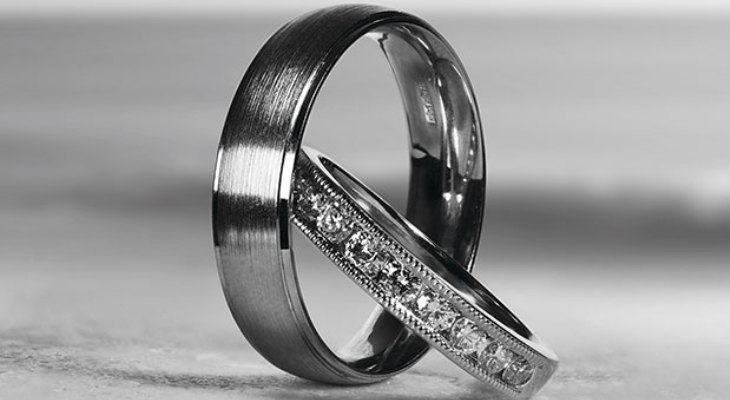 His and hers black titanium wedding bands
