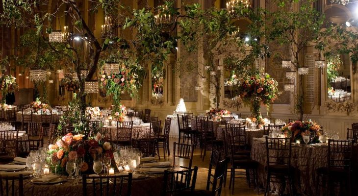Indoor enchanted forest wedding theme