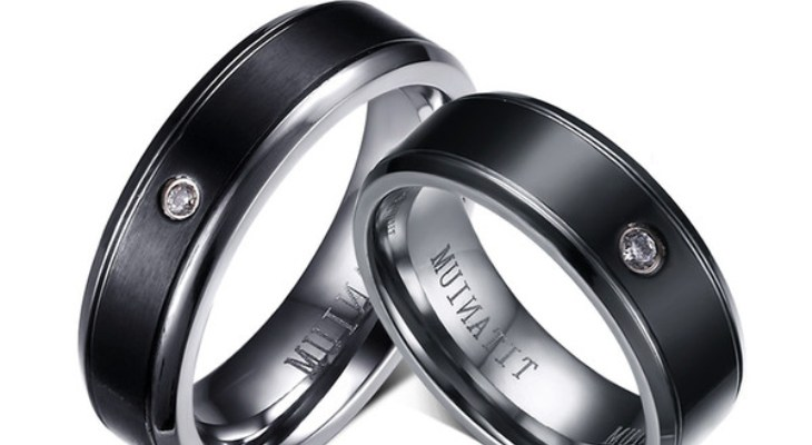 Ladies Black Titanium Wedding Bands