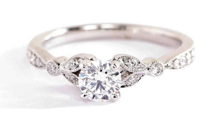 Petite vintage pavé leaf diamond engagement ring