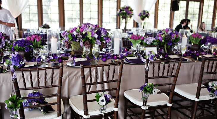 Purple green and white wedding theme