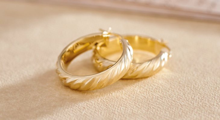 Qvc gold wedding band hoop earrings