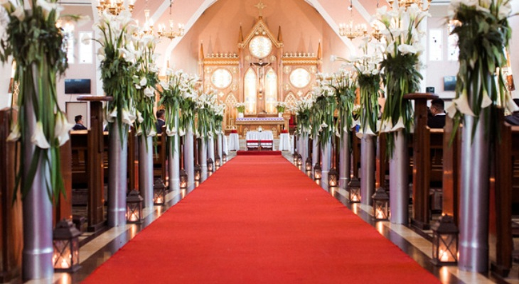 Red carpet church wedding