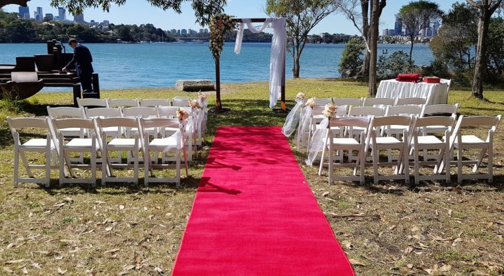 Red carpet for wedding ceremony