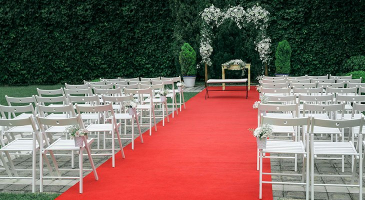Red carpet on wedding day