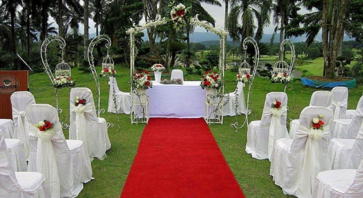 Red carpet themed wedding reception