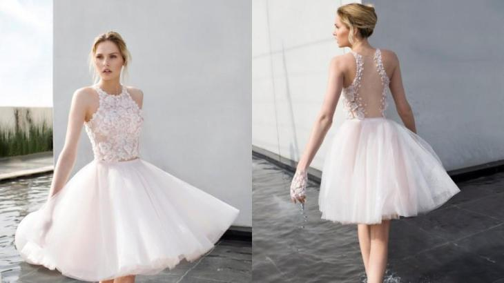 Short wedding dresses with bows