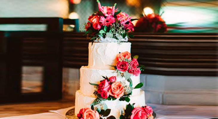 Silk floral wedding cake toppers