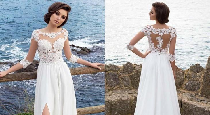 Simple wedding dresses with 3/4 sleeves