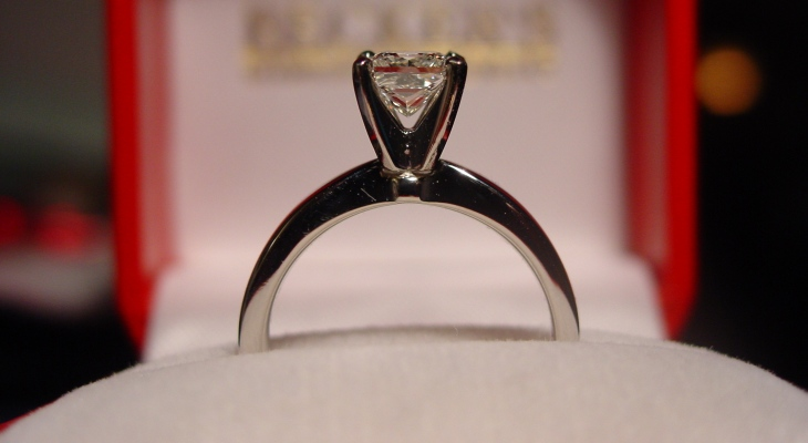 Tiffany style princess cut engagement ring