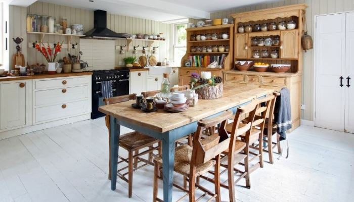 Traditional farmhouse kitchen table and chairs