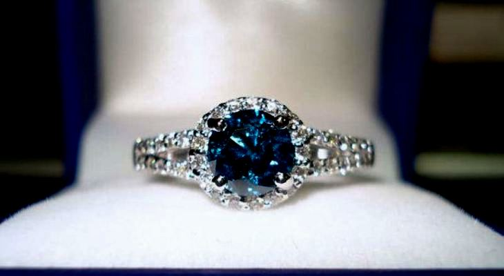 Vintage blue diamond engagement rings
