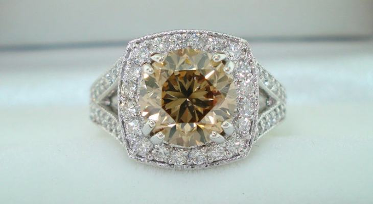 Vintage champagne diamond engagement rings