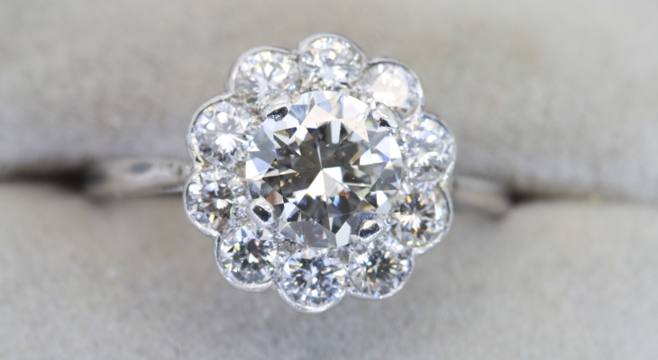 Vintage diamond cluster engagement ring