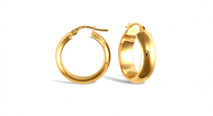 Wedding band hoop earrings 14k gold