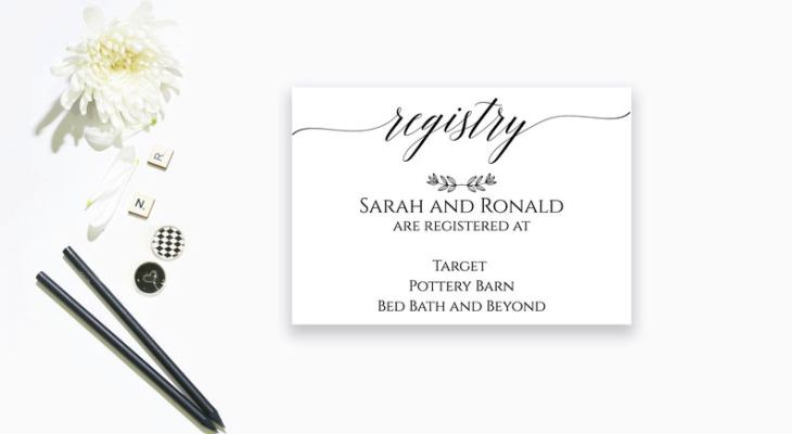 Wedding gift registry card