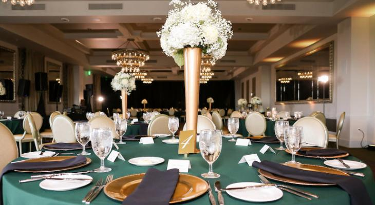 White and emerald green wedding theme