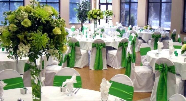 White and lime green wedding decorations