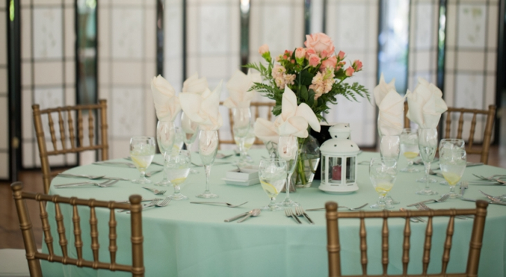 White and mint green wedding decor