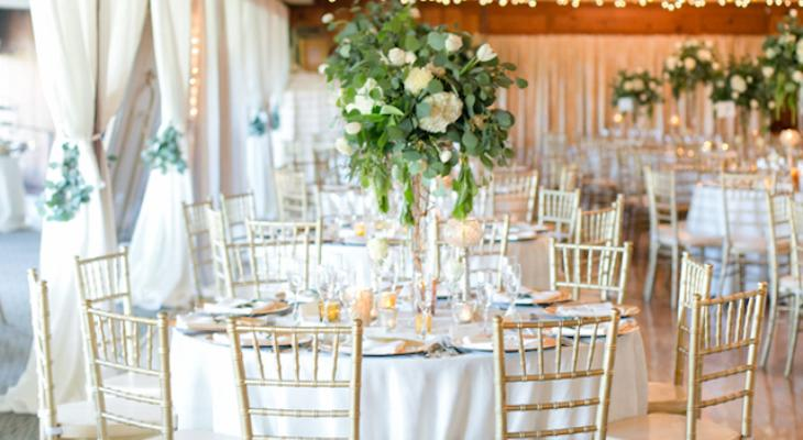 White gold and green wedding theme
