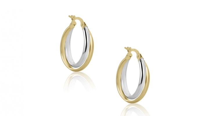 White gold wedding band hoop earrings