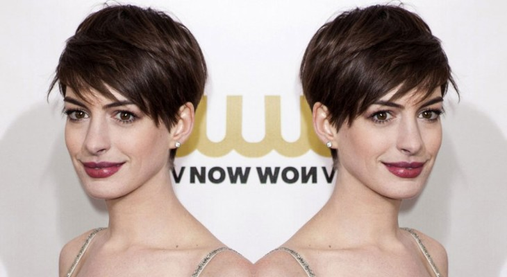 Anne Hathaway's Short Bob Hairstyle With An Oblique Fringe