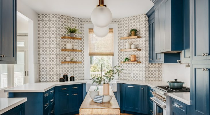 Geometric kitchen backsplash