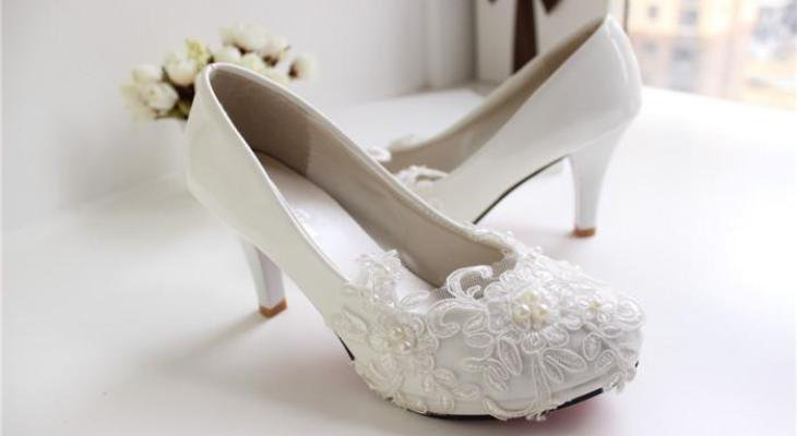 Kitten White Wedding Heels